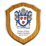 Wedding or Anniversary Coat of Arms Family Crest 6 inch Shield Plaque PERSONALISED, ref FCOW